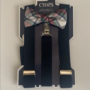 Boys Chaps Bow tie and suspender set. Blue plaid
